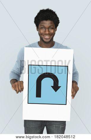 Showing U-turn Street Sign Icon