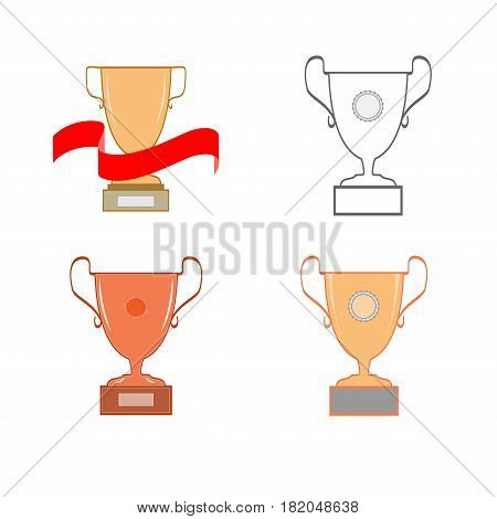 Cup reward set isolated. Modern symbol of victory and award achievement sport. Insignia ceremony awarding of winner tournament. Colorful template for badge tag. Design element. Vector illustration