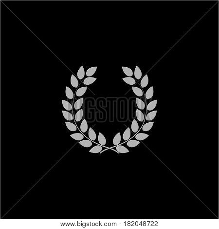 Laurel wreath reward. Modern symbol of victory and award achievement champion. Leaf ceremony awarding of winner tournament. Monochrome template for badge tag. Design element. Vector illustration