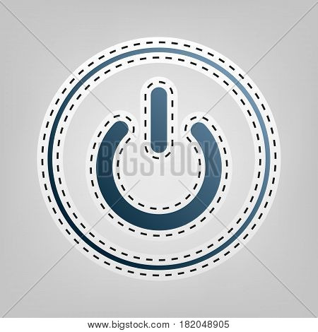 On Off switch sign. Vector. Blue icon with outline for cutting out at gray background.