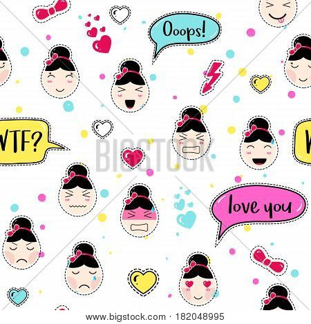 Asian style seamless pattern with anime emoticons girls. Tillable background for fabric, print, textile, wrapping paper or wallpaper. Cute girls with speech bubbles and different moods and hairstyles.