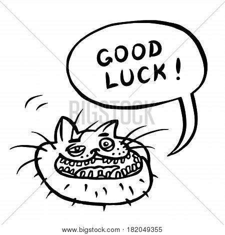 Good Luck! Cartoon Cat Head. Speech Bubble. Vector Illustration.