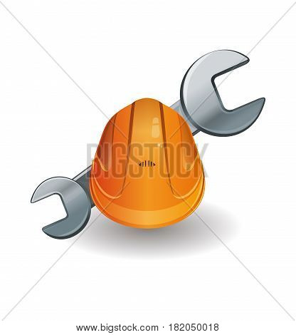 Working hard hat and wrench. Orange helmet and spanner. Vector illustration icon isolated on a white background