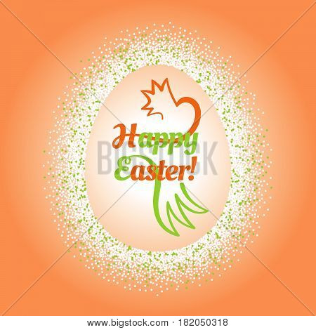 Composition with a colorful confetti frame around a big Easter egg with a congratulatory text and stilized chicken inside. Celebration post card with border
