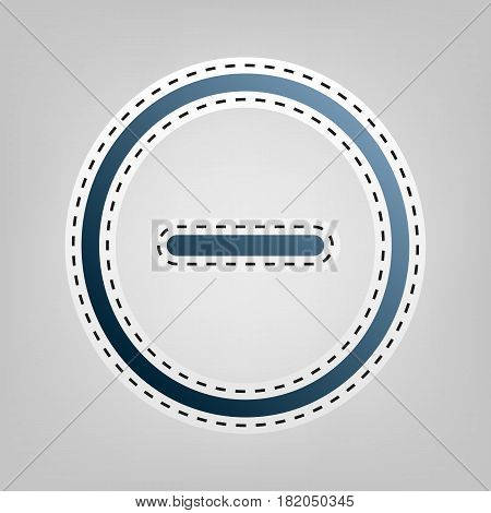 Negative symbol illustration. Minus sign. Vector. Blue icon with outline for cutting out at gray background.