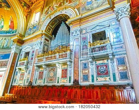 Rome, Italy - September 10, 2015: The interior of Basilica San Giovanni in Laterano, Rome, Italy on September 10, 2015