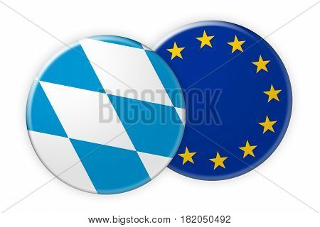 Germany News Concept: Bavaria Flag Button On EU Flag Button 3d illustration on white background