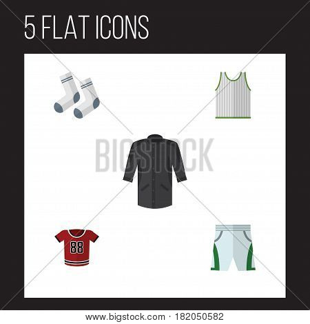 Flat Clothes Set Of Uniform, Foot Textile, T-Shirt And Other Vector Objects. Also Includes Kimono, Textile, Foot Elements.