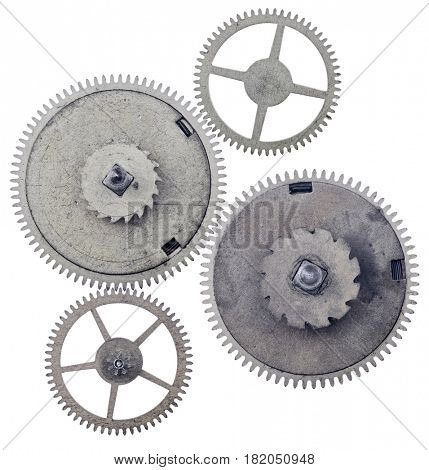 four old steel gears isolated on white background