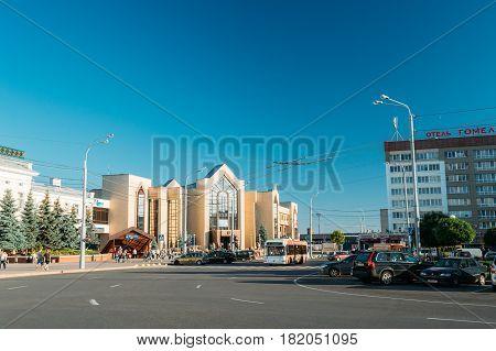 Gomel, Belarus - August 10, 2016: Railway Station Building In Sunny Summer Day In Gomel, Belarus