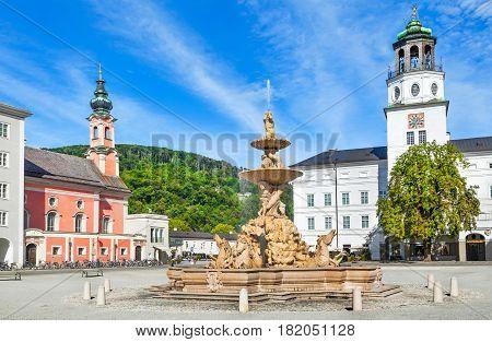 Beautiful View Of Residenzplatz With Famous Residenzbrunnen In Salzburg, Salzburger Land, Austria