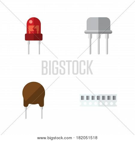 Flat Device Set Of Triode, Resist, Memory And Other Vector Objects. Also Includes Resist, Semiconductor, Transducer Elements.
