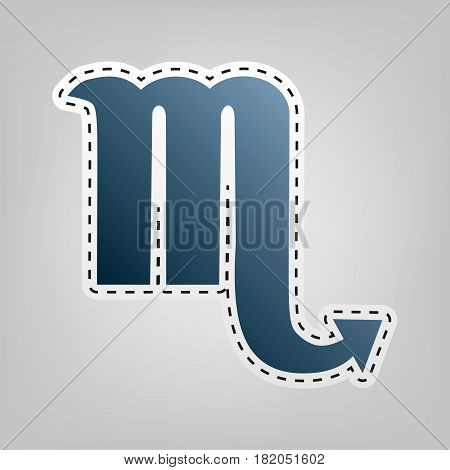 Scorpio sign illustration. Vector. Blue icon with outline for cutting out at gray background.