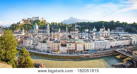 Panoramic View Of Salzburg Skyline With River Salzach At Sunset As Seen From Kapuzinerberg In Salzbu