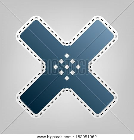 Aid sticker sign. Vector. Blue icon with outline for cutting out at gray background.