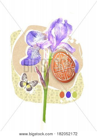 Easter greeting card template with paschal egg butterfly and spring iris flower. Easter design for Resurrection Sunday religion holiday.