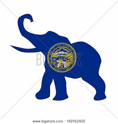 The Nebraska Republican elephant flag over a white background