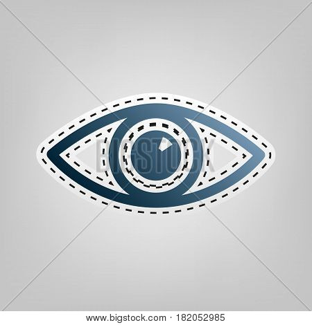 Eye sign illustration. Vector. Blue icon with outline for cutting out at gray background.