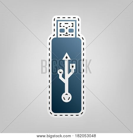 Vector USB flash drive sign. Vector. Blue icon with outline for cutting out at gray background.