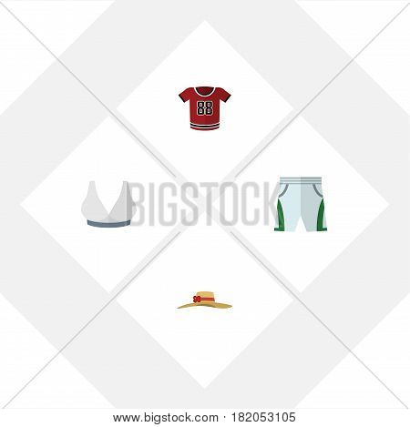 Flat Clothes Set Of Brasserie, T-Shirt, Elegant Headgear And Other Vector Objects. Also Includes Uniform, Headgear, Hat Elements.