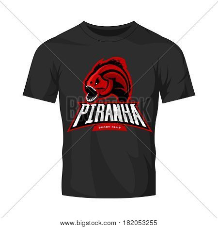 Furious piranha sport vector logo concept isolated on black t-shirt mockup. Modern professional team predator badge design.Premium quality wild fearsome fish t-shirt tee print illustration.