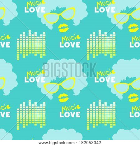 love music repeating background, seamless pattern, vector illustration