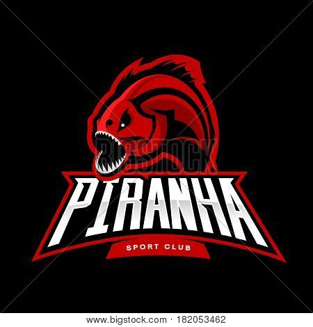 Furious piranha sport vector logo concept isolated on black background. Modern professional team predator badge design.Premium quality wild fearsome fish t-shirt tee print illustration.