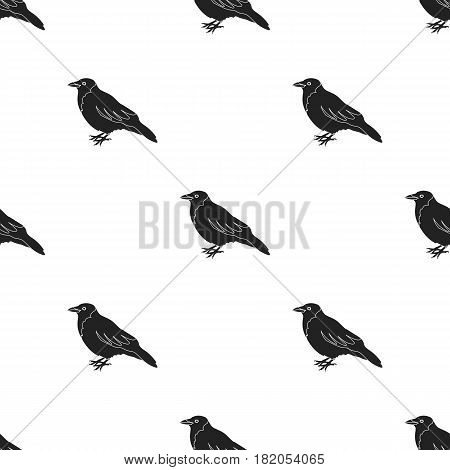 Crow icon in black style isolated on white background. Bird pattern vector illustration.