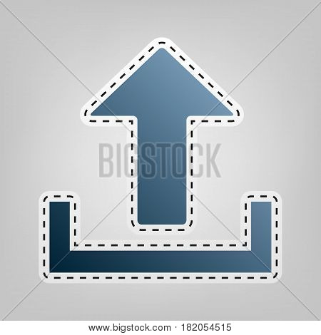 Upload sign illustration. Vector. Blue icon with outline for cutting out at gray background.