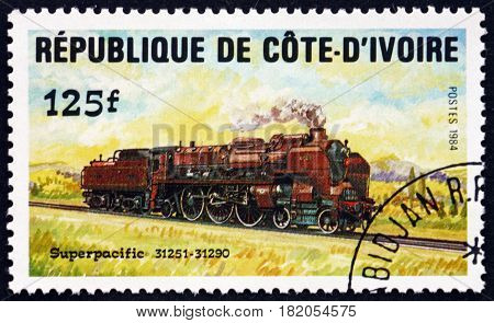 IVORY COAST - CIRCA 1984: a stamp printed in Ivory Coast shows Superpacific Locomotive circa 1984