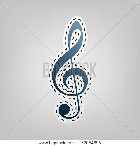 Music violin clef sign. G-clef. Treble clef. Vector. Blue icon with outline for cutting out at gray background.