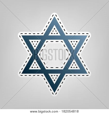 Shield Magen David Star. Symbol of Israel. Vector. Blue icon with outline for cutting out at gray background.