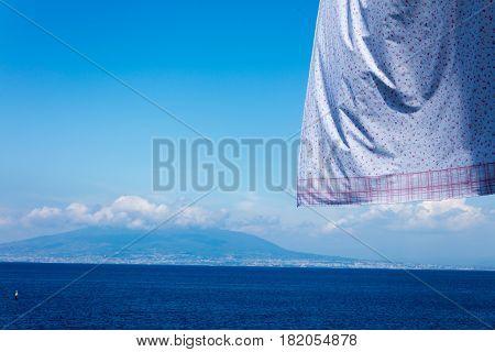 Neapolitan Coast Fron Sorrento With Hanging Clothes