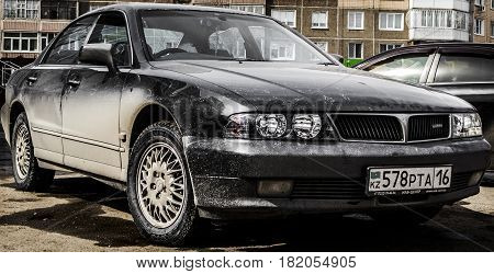 Kazakhstan, Ust-Kamenogorsk, march 29, 2017: Mitsubishi Diamante, front view, old japanese car