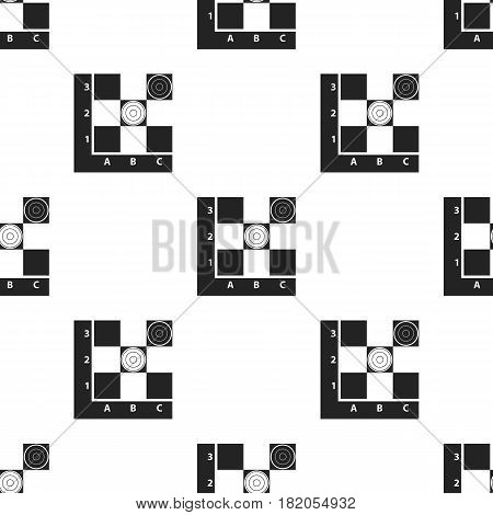 Checkers icon in black style isolated on white background. Board games pattern vector illustration.