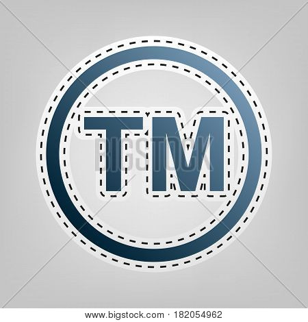 Trade mark sign. Vector. Blue icon with outline for cutting out at gray background.