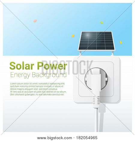 Green energy concept background with solar panel and electric plug , vector , illustration