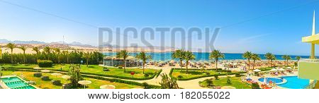 Sharm El Sheikh, Egypt - April 8, 2017: The panoramic view of luxury hotel Barcelo Tiran Sharm 5 stars at day with blue sky at Sharm El Sheikh, Egypt on April 8, 2017