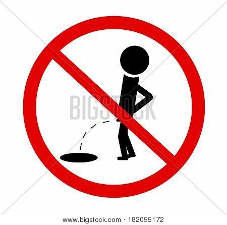 No Peeing Line Icon, Pee Prohibition Sign, Forbidden Don't Pissing, Vector Graphics, A Linear Patter