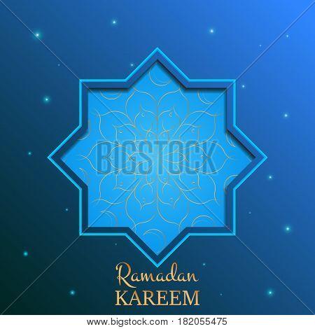 Ramadan Kareem islamic card. Arabian background with shiny stars, gold flower pattern and typography