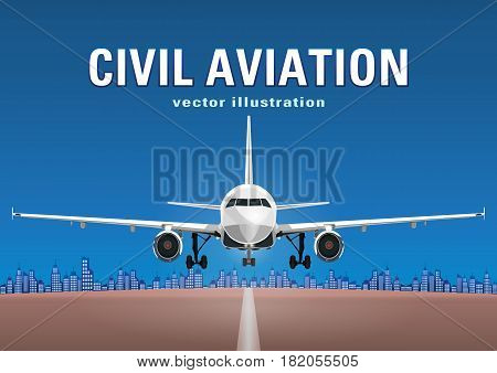 Aircraft Vector, Take-off Plane Against The Background Of The Blue Sky, City Houses And The Runway,