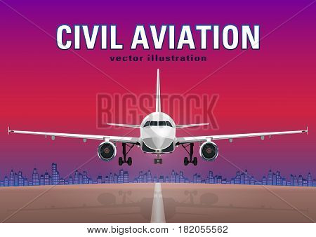 Aircraft Vector, Take-off Plane Against The Background Of The Sunset Sky, City Houses And The Runway