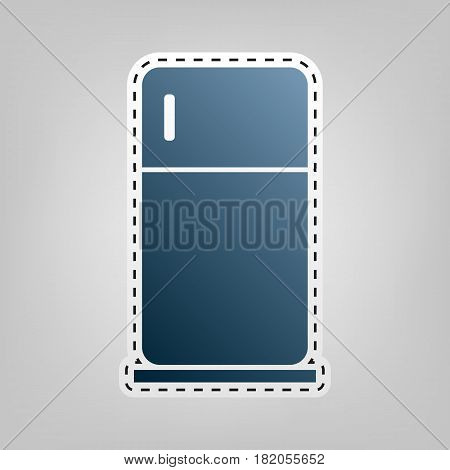 Refrigerator sign illustration. Vector. Blue icon with outline for cutting out at gray background.