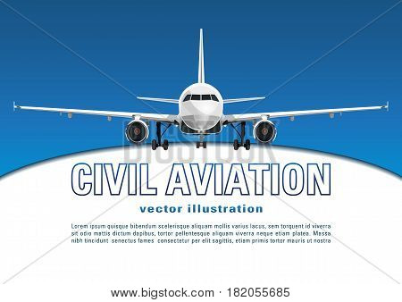 Aircraft Vector. Banner, Poster, Flyer, Card From Plane Against The Background Of The Blue Sky And T