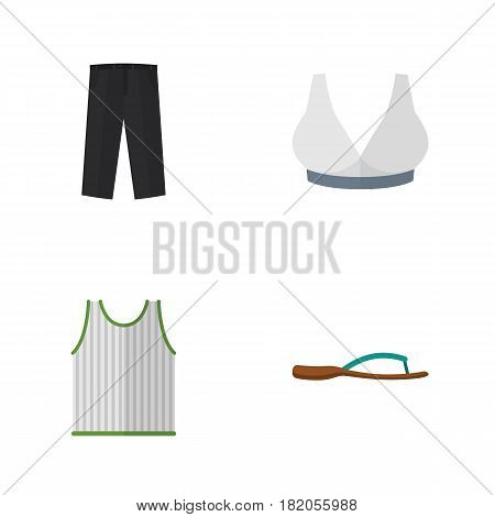 Flat Garment Set Of Pants, Brasserie, Singlet And Other Vector Objects. Also Includes Pants, Flop, Bra Elements.