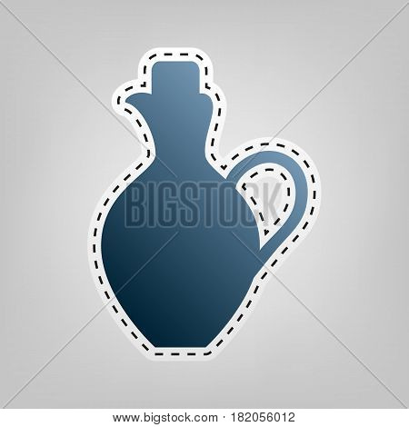 Amphora sign illustration. Vector. Blue icon with outline for cutting out at gray background.