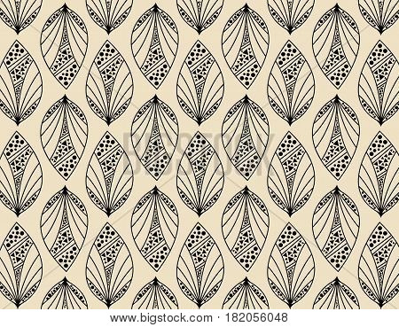 Beige seamless leaf pattern. Seamless decorative template texture with leaves. Vector stock.