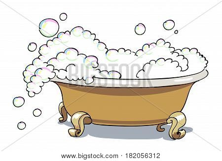 Cartoon image of bathtub. An artistic freehand picture.