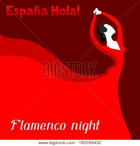 Traditional spanish flamenco. Woman in red dress is dancing.