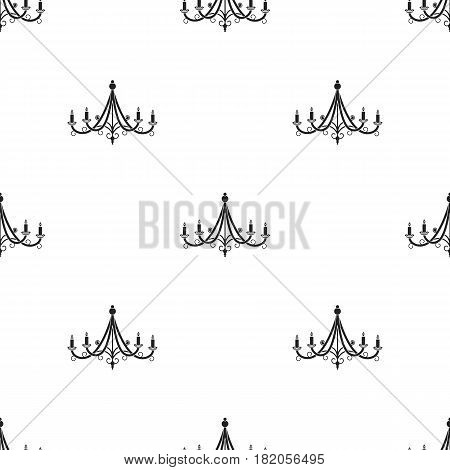Chandelier icon in black style isolated on white background. Light source pattern vector illustration